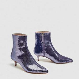 Zara Sequined high heel ankle boots-9